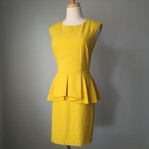 love21 yellow peplum shift dress zipper back